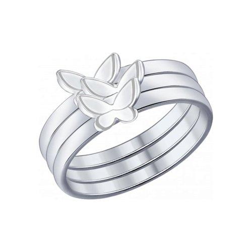 Наборное кольцо из серебра (94012014) - фото