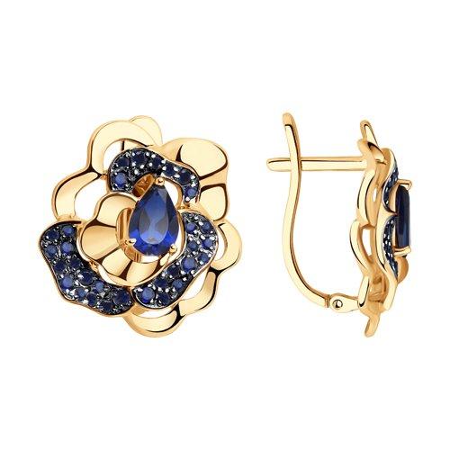 Серьги из золота с синими корунд (синт.) и фианитами (725904) - фото