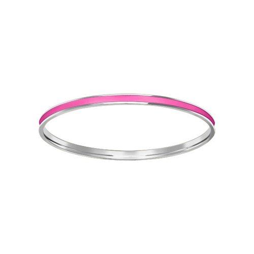 Жесткий браслет с ярко-розовой эмалью SOKOLOV