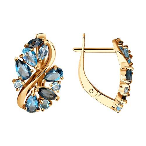 Серьги из золота с голубыми и синими топазами (725136) - фото