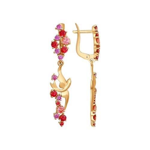 Фото - Серьги SOKOLOV из золота с розовыми, сиреневыми и красными фианитами подвеска sokolov из золота с розовыми сиреневыми и красными фианитами