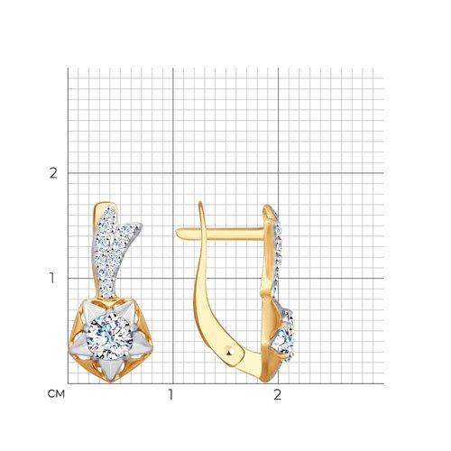 Серьги из золота с фианитами (027702) - фото №2