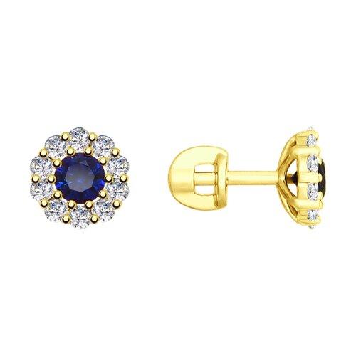 Серьги из желтого золота с синими корунд (синт.) и фианитами