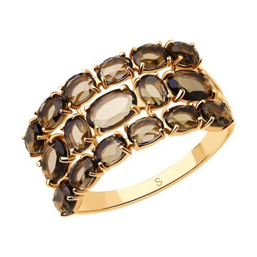 Кольцо из золота с раухтопазами