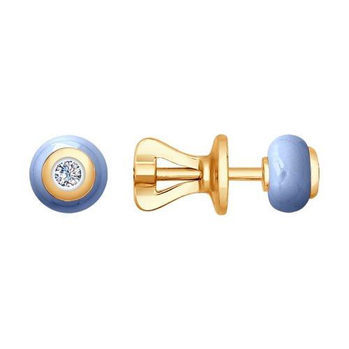 Серьги из золота с бриллиантами и голубой керамикой