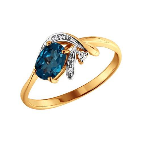 Золотое кольцо с овальным топазом london blue и фианитами SOKOLOV золотое кольцо ювелирное изделие k 11013