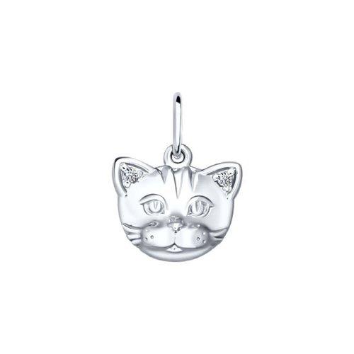 Подвеска «Кошка» SOKOLOV из серебра, ушки c фианитами