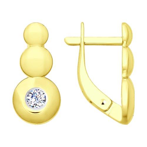 Серьги из желтого золота с фианитами (027764-2) - фото