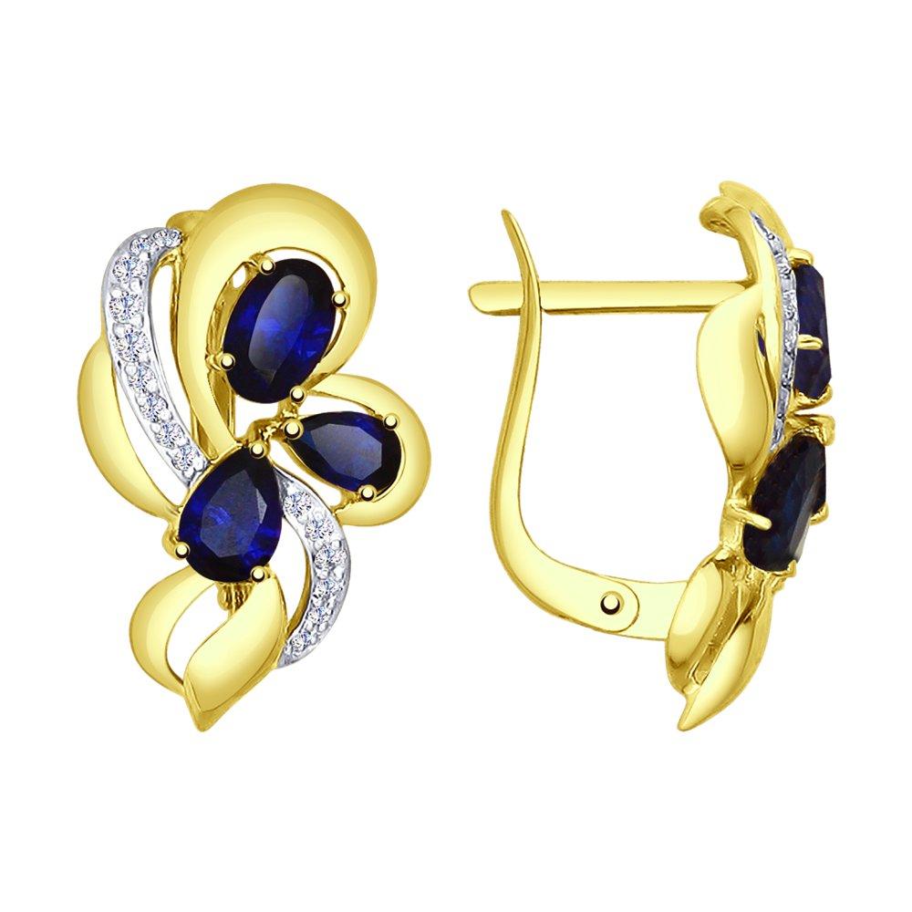 Фото - Серьги SOKOLOV из желтого золота с синими корунд (синт.) и фианитами кольцо sokolov из желтого золота с синими корунд синт синим опалом и зелеными и синими фианитами