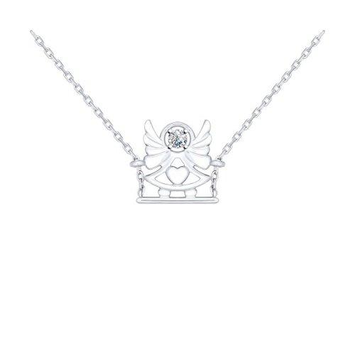 Колье «Ангел» из серебра с фианитом
