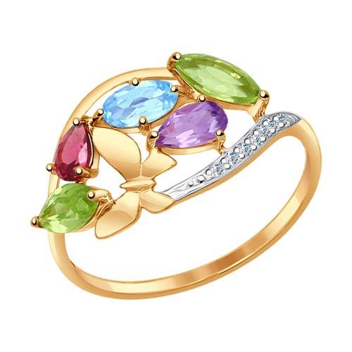 Кольцо из золота с миксом камней (37714596) - фото