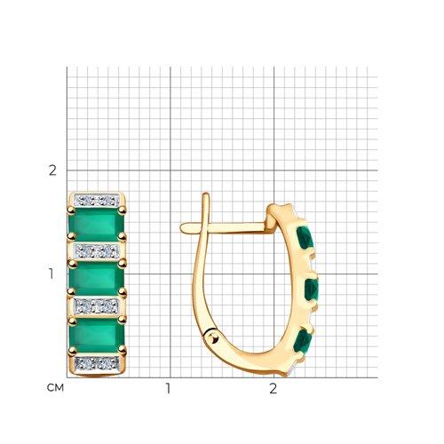 Серьги из золота с бриллиантами и агатами 6023047 SOKOLOV фото 2