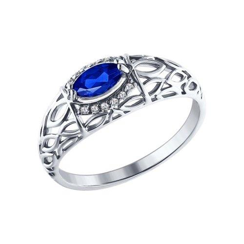 Кольцо из серебра с синим фианитом