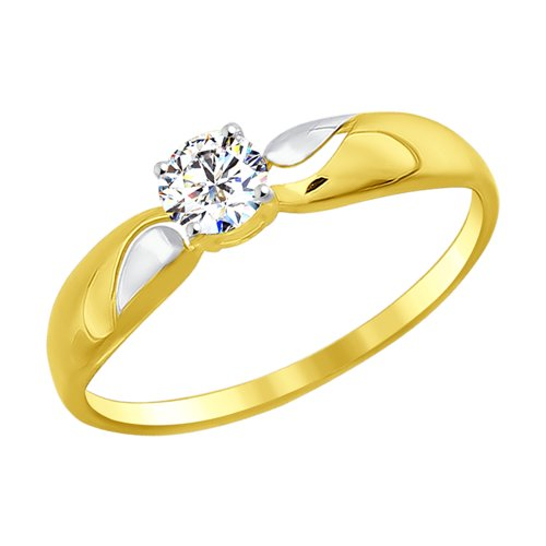 Кольцо из желтого золота с фианитом (016946-2) - фото