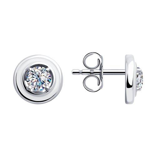 Серьги из серебра с эмалью и фианитами (94023377) - фото