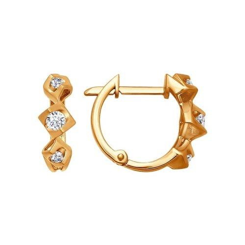 Золотые серьги, три бриллианта SOKOLOV