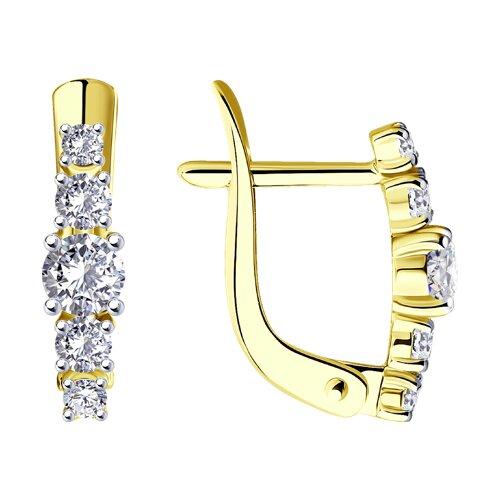 Серьги из желтого золота с фианитами (027452-2) - фото