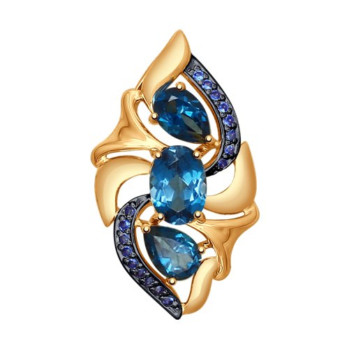 Подвеска из золота с синими топазами и синими фианитами