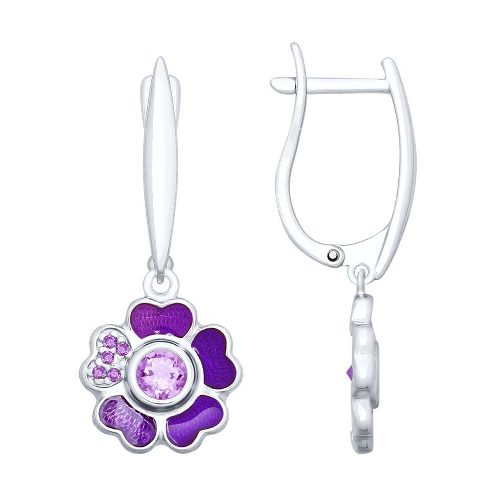 Серьги SOKOLOV из серебра «Цветок» с аметистами и эмалью серьги серебряный цветок с эмалью и хризолитами sokolov