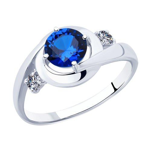 Кольцо из серебра с фианитами (94012873) - фото