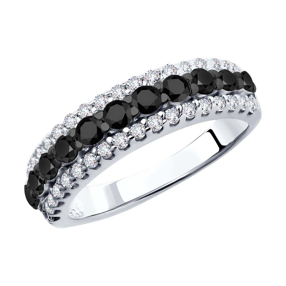 Кольцо SOKOLOV из серебра с чёрными фианитами