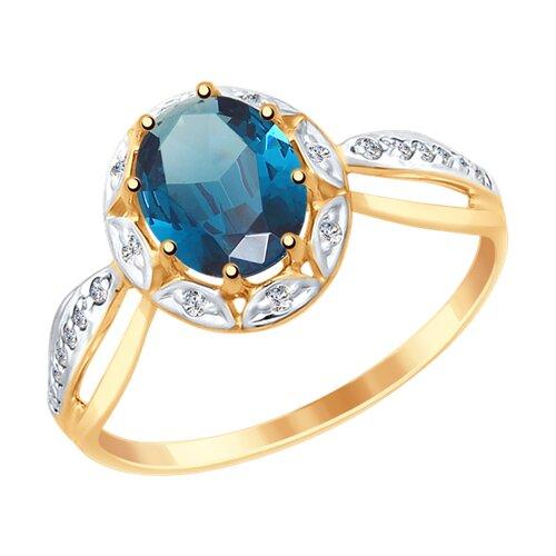 Кольцо из золота с синим топазом и фианитами (37715032) - фото