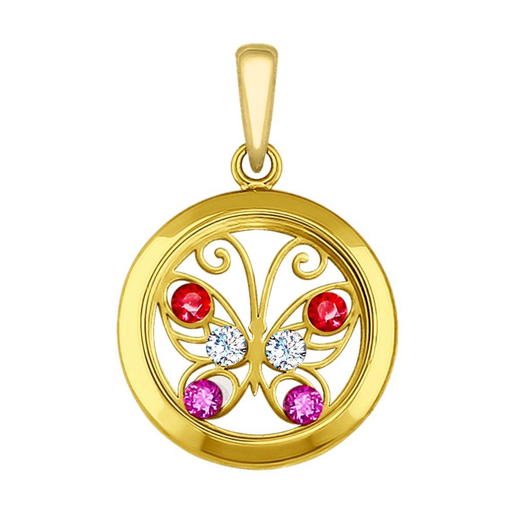 Фото - Подвеска SOKOLOV из желтого золота с минеральным стеклом и бесцветными, красными и сиреневыми фианитами подвеска sokolov из золота с розовыми сиреневыми и красными фианитами