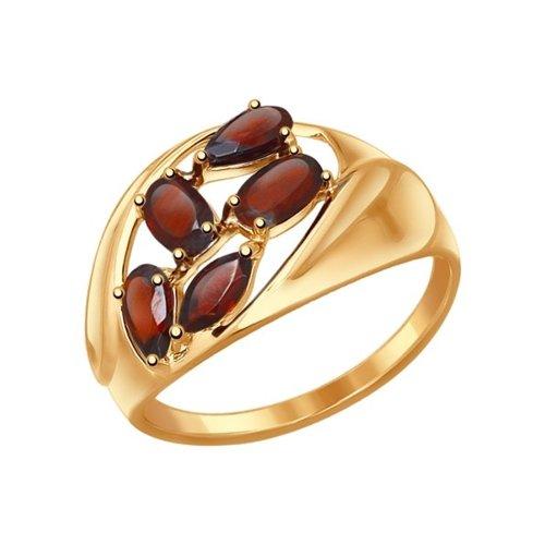 Кольцо из золота с гранатами (714470) - фото