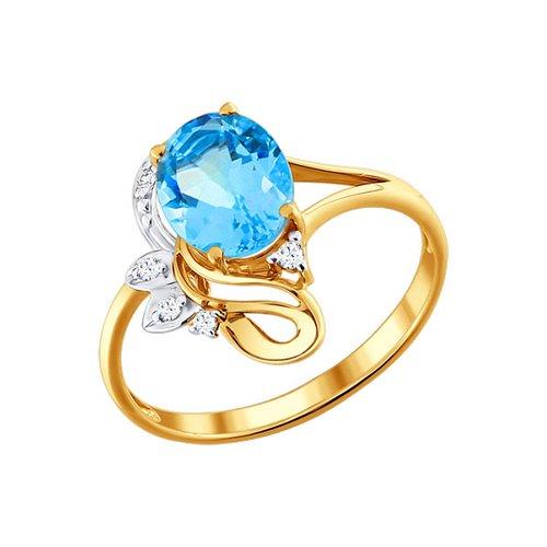 Кольцо из золота с топазом и фианитами (711534) - фото