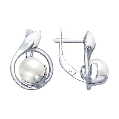 Серьги из серебра с эмалью с жемчугом