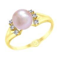 Кольцо из желтого золота с розовым жемчугом и фианитами