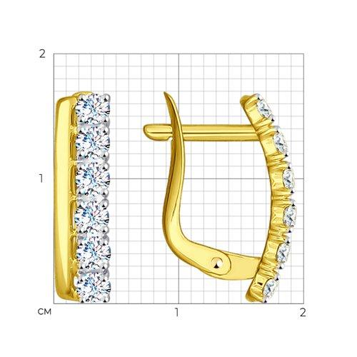 Серьги из желтого золота с фианитами (027146-2) - фото №2