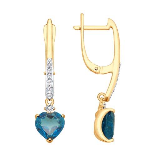 Серьги из золота с синими топазами и фианитами (37725350) - фото