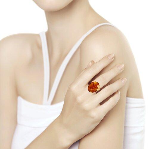 Кольцо из золочёного серебра с янтарём (83010052) - фото №2