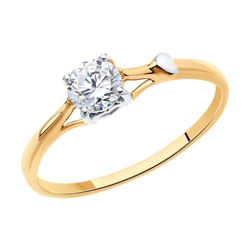 Золотое кольцо с фианитом (017542) - фото