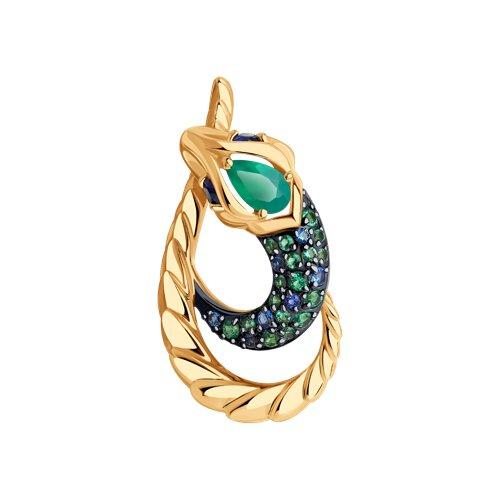 """Подвеска """"Змейка"""" из золота с миксом камней"""