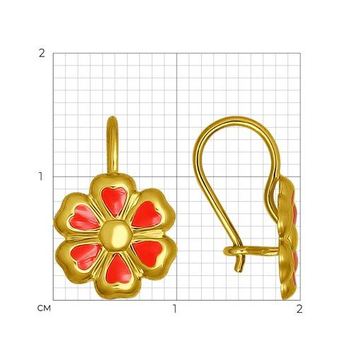 Серьги из желтого золота с эмалью (027345-2) - фото №2