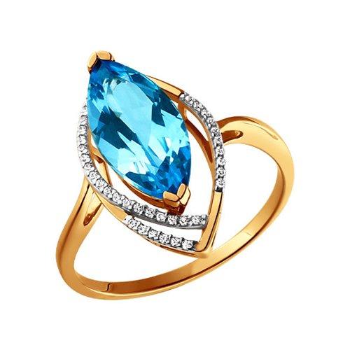 Золотое кольцо с голубым топазом SOKOLOV золотое кольцо ювелирное изделие k 11013