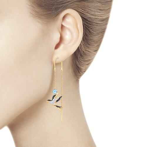 Серьги из золота в виде ласточек с топазами и фианитами (725424) - фото №2