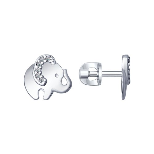 Серьги «Слоник» из серебра  (94022543) - фото
