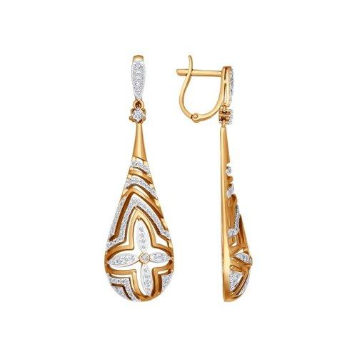 Серьги длинные каплей из золота c бриллиантами