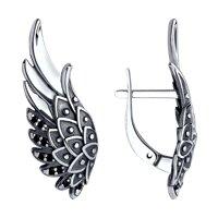 Серьги «Крылья» из серебра