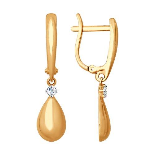 Серьги из золота с фианитами (027821) - фото