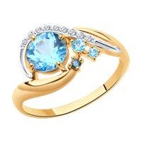 Кольцо из золота с голубыми и синим топазами и фианитами