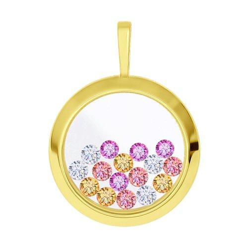 Подвеска из желтого золота с минеральным стеклом и бесцветными, жёлтыми, розовыми и сиреневыми фианитами