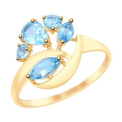 Кольцо из золота с топазами (715096) - фото