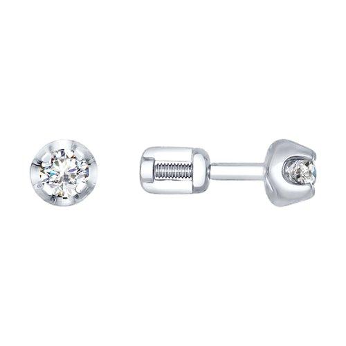 Серьги-пусеты из белого золота с бриллиантами цена 2017