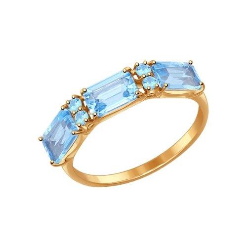 Кольцо из золота с топазами и голубыми фианитами