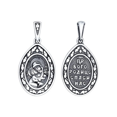 Серебряная иконка «Икона Божьей Матери Владимирская» SOKOLOV