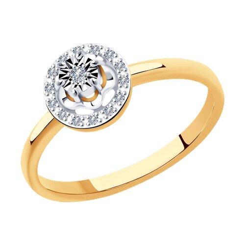 Кольцо из комбинированного золота с бриллиантами (1011930) - фото